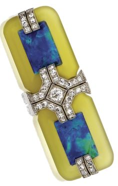 An Art Deco Platinum, Black Opal and Diamond Brooch, Circa Set with rectangular black opal segments measuring approximately by mm., within rectangular frames of frosted glass, accented by single-cut and round diamonds. by fannie Opal Jewelry, Jewelry Art, Antique Jewelry, Vintage Jewelry, Fine Jewelry, Jewelry Design, Jewlery, Bijoux Art Nouveau, Art Nouveau Jewelry