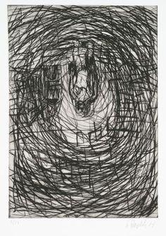 "Cellar (Keller)  Georg Baselitz (German, born 1938)    1987. Drypoint, plate: 19 5/8 x 13 7/8"" (49.8 x 35.2 cm); sheet: 26 3/16 x 19 13/16"" (66 x 50.3 cm). Rainer Fetting, Neo Expressionism, Moma, Cellar, Impressionism, Surrealism, Contemporary Art, Printed, Google Search"