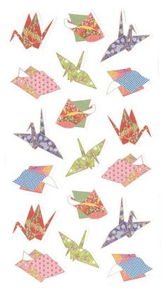 "Japanese Chiyoda Paper Style ""Origami"" Planner/ Scrapbook/ Gift Wrapping Washi Paper Decor/Sealing Stickers. by niconecozakkaya on Etsy"