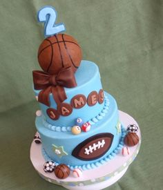 Sports cake with bow