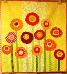 Baby quilt poppies baby/ wall art quiltCUSTOM by moonspiritstudios