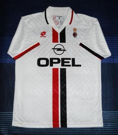 AC Milan Away football shirt 1996 Milan Football, Football Team, Classic Football Shirts, Ac Milan, Vintage Shirts, Fashion, Football Shirts, Football Soccer, Vintage T Shirts