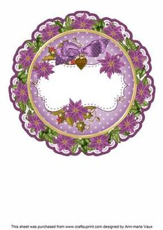 Purple Christmas Poinsettia Doily Card Insert Panel on Craftsuprint - Add To Basket! Christmas Poinsettia, Purple Christmas, Christmas Wishes, Merry Christmas, Christmas Decoupage, Circle Shape, Paper Quilling, Winter Scenes, Doilies