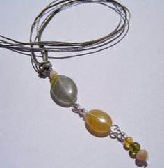 Shades of nature Czech glass oval beads drop necklace by dzinebug, €16.00