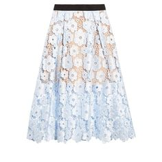 Self-portrait Flower Garden guipure-lace midi skirt (4 160 ZAR) ❤ liked on Polyvore featuring skirts, lace skirts, knee length lace skirt, lacy cami, mid calf skirts and calf length skirts