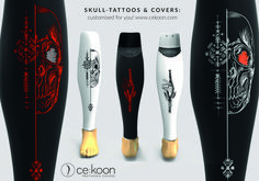 Amputee tattoos 780248704170051234 - Prosthetic cover skulls in different colors. For below and above knee amputees. Source by cekoonprothesencovers Cover Tattoo, Skull Design, Skull Tattoos, Different Colors, Skulls, Fashion, Trim Board, Moda, La Mode