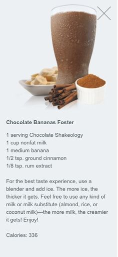 Chocolate bananas foster shakeology www.facebook.com/coachlindabeachbody
