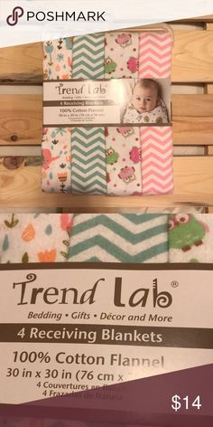 TREND LAB 4 Receiving Blankets NEW! Trend lab baby girl 4 receiving blankets. New! Smoke and pet free home. Trend Lab Other