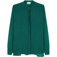 Lanvin Bottle green dolman-sleeve silk blouse (70.345 RUB) ❤ liked on Polyvore featuring tops, blouses, lanvin top, silk blouses, lanvin blouse, blue top and blue blouse