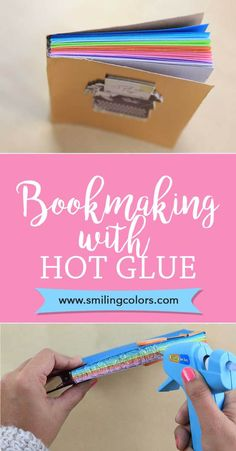 Video Tutorial showing the Hot Glue Book Binding technique --Hot Glue Gun Crafts, DIY Bookbinding, Bookmaking ideas