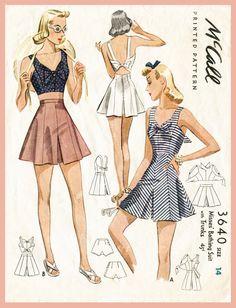 40 años coser patrón cultivo superior Short pantalones cortos 1940s escoger su tamaño busto 32 34 36 38 vintage de las mujeres de playa repro de inglés y francés de mameluco