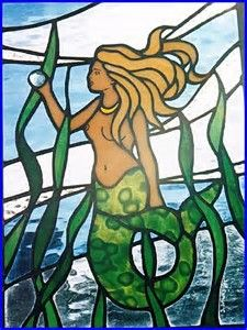 Mermaid - Stained Glass on Faux Stained Glass, Stained Glass Lamps, Stained Glass Projects, Stained Glass Patterns, Stained Glass Windows, Mermaid Glass, Mermaid Art, Mosaic Art, Mosaic Glass
