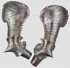 Protecciones de brazo de armadura completa de estilo gótico - Alemania - c. 1489.