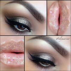 silver sparkle eyes, pink lips