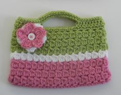 Crochet Purse Pink and Green Gift for Kid Valentine's Day Gift. $12.00, via Etsy.
