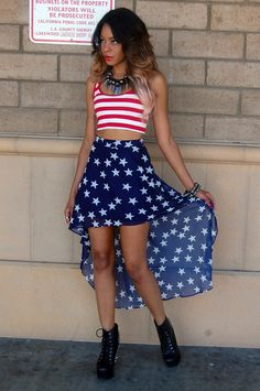 america high low skirt high, but the model is creepy looking....