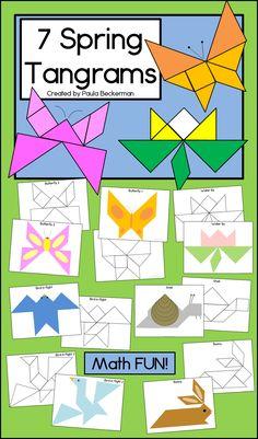 Spring themed tangrams for fun math learning with shapes. Fun Math, Math Games, Math Activities, Hands On Activities, Math Classroom, Kindergarten Math, Preschool Math, Elementary Math, First Grade Math