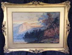 HUDSON RIVER SCHOOL Watercolor Painting American CHARLES CHAPIN 19thC Antique NY #Impressionism