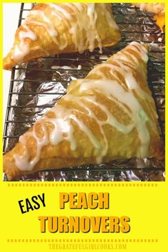 Peach Turnovers (EASY)/ The Grateful Girl Cooks! Peach turnovers with vanilla glaze are delicious, and so quick and easy to make using peach pie filling and puff pastry sheets! Sure to be a family favorite! Peach Turnovers, Apple Turnovers With Puff Pastry, Peach Puff Pastry, Recipes Using Puff Pastry, Phyllo Dough Recipes, Puff Pastry Desserts, Puff Pastries, Savory Pastry, Peach Pie Filling