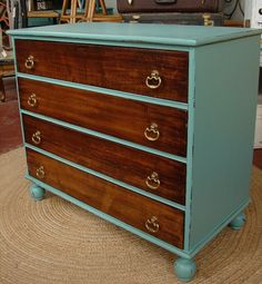 Reclaimed Vintage Solid Wood Drawers Robin Egg Blue Paint Two Tone 4 Dr Chest of Drawers Credenza Dresser (CALL for a SHIP Quote). $325.00, via Etsy.