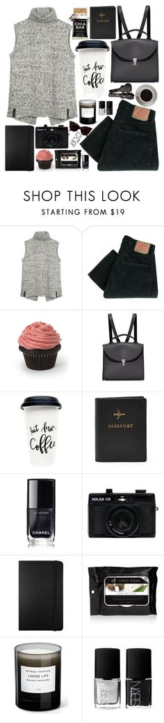 """""""s k y"""" by skyl19 ❤ liked on Polyvore featuring Fat Face, Levi's, The Cambridge Satchel Company, Bunn, FOSSIL, Chanel, Holga, Moleskine, Byredo and NARS Cosmetics"""