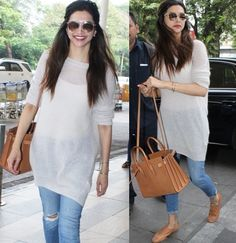 Deepika Padukone's Airport Style Will Leave You Wanting For More! Deepika Padukone snapped at airport Classy Outfits, Cool Outfits, Casual Outfits, Fashion Outfits, Casual Jeans, Women's Fashion, Bollywood Outfits, Bollywood Fashion, Bollywood Stars