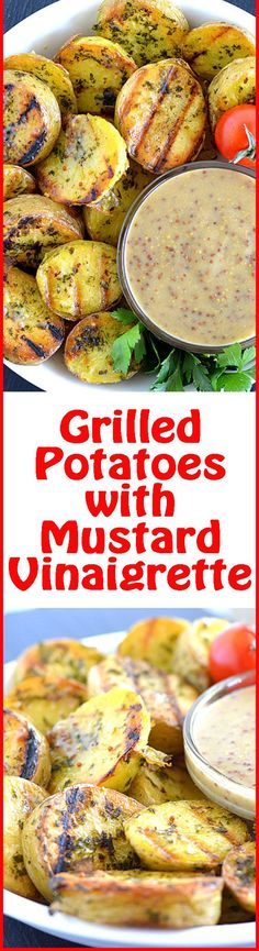 Par-boiled potatoes meet the grill and then THIS magic happens! Serve these Grilled Potatoes with Mustard Vinaigrette by The Veg Life!.