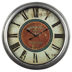 Distressed wall clock.   Product: ClockConstruction Material: WoodColor: MultiAccommodates...