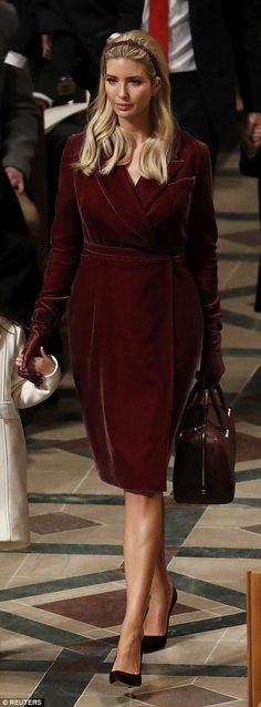 Ivanka Trump wore a striking Oscar de la Renta velvet wrap dress...