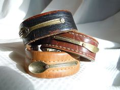 Table for One 3 piece Silverwear Recycled Leather Cuff Bracelets by TimeFound, $20.00