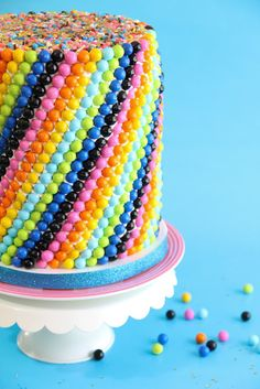 Sprinkle Bakes: Sixlets Cake for a Blog Birthday, and a Giveaway!