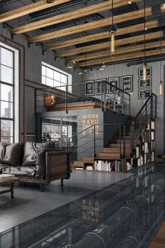 56 Dream Living Room Design Ideas That Make Your Home Look Luxury - Haus Interieu Design - Decoration Help Industrial Interior Design, Industrial House, Industrial Interiors, Home Interior Design, Industrial Style, Industrial Architecture, Urban Industrial, Interior Livingroom, Vintage Industrial