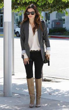 Rachel Bilson Fall look with boots