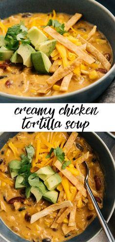 Tortillas, Creamy Chicken Tortilla Soup, Mexican Tortilla Soup, Easy Tortilla Soup, Best Tortilla Soup Recipe, Chicken Fajita Soup, Recipes With Chicken Broth, Chicken Broth Soup, Tex Mex Chicken