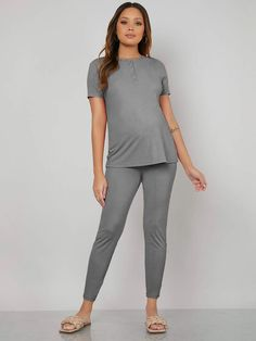 Maternity Buttoned Half Placket Top With Legging Comfy Pajama Set
