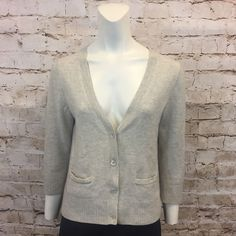 J Crew Womens Small Beige Cardigan Cashmere 3/4 Sleeve Sweater Top  | eBay