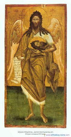 John the Baptist Orthodox Catholic, Catholic Saints, Byzantine Icons, Byzantine Art, Religious Icons, Religious Art, Bible John, Bible Images, Baroque Art