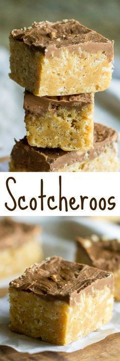 Scotcheroos are like rice krispy bars on steroids. Made with peanut butter and topped with butterscotch-chocolate frosting, prepare to be ADDICTED! (chocolate frosting recipes no butter) Candy Recipes, Sweet Recipes, Cookie Recipes, Baking Recipes, Dessert Recipes, Bar Recipes, Cereal Recipes, Rice Recipes, Gourmet
