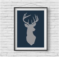 Navy & Gray Deer Wall Art Reindeer Printable Christmas Decor Christmas Print Deer Home Decor Navy Nursery Art Minimalist Deer Poster