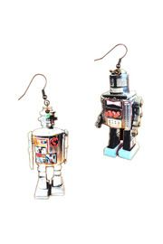 Wooden Robot Earrings