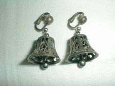 vintage cini sterling bell earrings filigree clip ons - Quality Vintage Jewelry