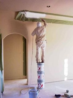 """Falls are more common from using """"creative"""" solutions like chairs, stools, etc instead of a ladder. It is more dangerous to do things like this than using a ladder, and when using a ladder safely, there is no need to worry at al! #laddersafety #ladderfail #safetyfail"""