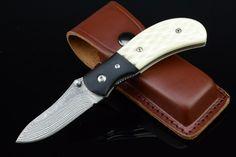 Textured Bone And Ox Horn Handle Damascus Steel Blade Folding Pocket Knife 3691