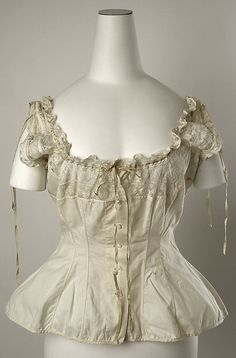 Cotton corset cover with lace yoke, American or European, 1880s.