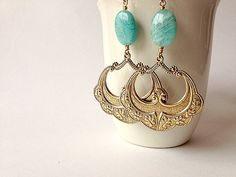 Flamenco Earrings Russian Amazonite & Golden by www.TesoroDelSol.etsy.com
