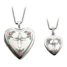 Sterling Silver Enamel Cross and Roses Mother Daughter Necklace Set Heart Locket Necklace, Necklace Set, Pendant Necklace, Sterling Silver Cross, Sterling Silver Necklaces, 925 Silver, Silver Enamel, Mother Daughter Necklace, Silver Lockets
