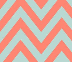 Mint Coral Chevron Large fabric by mgterry on Spoonflower - custom fabric   http://www.spoonflower.com/fabric/1265830