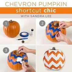 DIY Chevron      : DIY CHEVRON Pumpkins : DIY Crafts (use black paint)