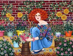 Aunt Chicha's Garden by Mariangeles Puente Duran - GINA Gallery of International Naive Art