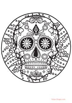 Easy Sugar Skull Mandala Coloring Page For Kids